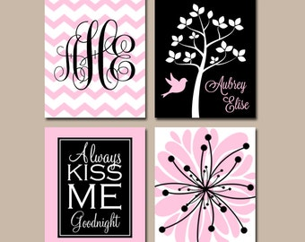 PINK BLACK Nursery Wall Art, CANVAS or Prints Baby Girl Nursery Wall Art, Monogram Flower Tree Bird Girl Bedroom Kiss Me Goodnight Set of 4