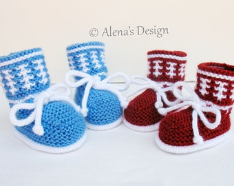 Knitting Pattern 033 - Knitting Booties Pattern Baby Booties Knitting Patterns High-Top Baby Booties Newborn Baby Boys Baby Girls Red Blue