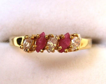 Yellow Gold Filled Ruby and Clear Glass Stone Ring