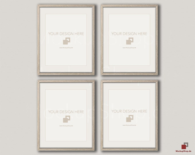 Wood MOCKUP FRAME 16x20 / vertical Frame / Set of 4 Frames  / beige wall / Old Vintage Frame Mockup / Empty Mockup - 40% Discount in April