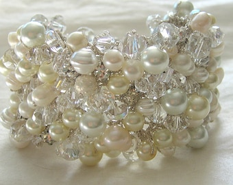 "PEARL CRYSTAL RHINESTONE Bridal Bracelet Cuff, Almost 2"" Wide, Freshwater, Baroque, White, Ivory, Sereba Designs"