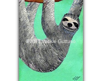 "Sloth art print, 5 x 7"" giclee, Collage, Acrylic animal wall art, Nursery decor, Amazon rainforest animal painting print, Animal lover gift"