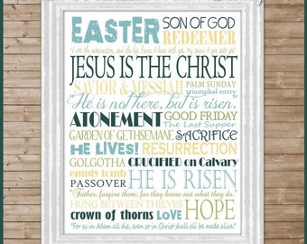 SAVIOR Easter Resurrection Subway Art -  Printable INSTANT Download