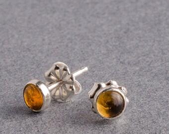 Citrine Silver Dot Stud Earrings