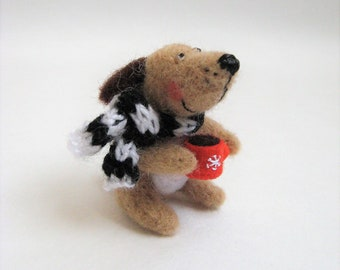 Needle Felted Dog.  The Dog with a Scarf and a Cup of Tea. Felted Miniature Animal.