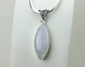 2.43 Inch Rainbow MOONSTONE 925 S0LID Sterling Silver Pendant + 4MM Snake Chain & Free Express Shipping p3113