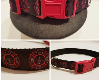 Fire Fighter Dog Collar - Red Dog Collar - Gift for a Fire Fighter - Dog Gift - Father's Day Gift