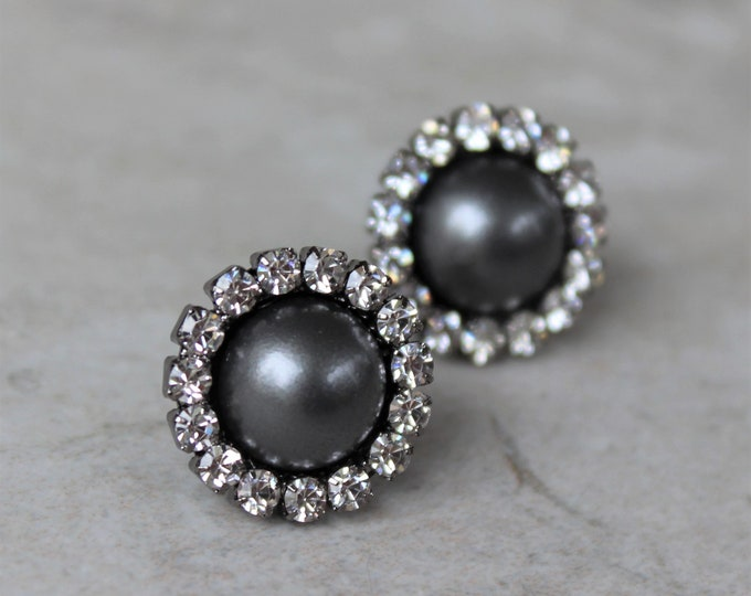 Dark Gray Earrings, Gray Bridesmaid Earrings, Gray Pearl Earrings, Bridesmaid Jewelry, Gray Wedding Jewelry, Charcoal Earrings, Gunmetal