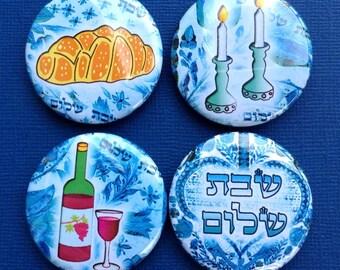 Shabbat Shalom Magnets, Jewish Gifts, Challah, Shabbat Candles, Hebrew Letters, Fridge Magnets, Jewish Holiday, kabbalat shabbat, Judaica