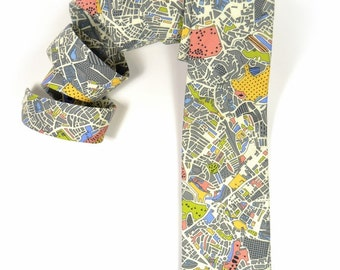 Wedding Mens tie, grey London map groomens necktie