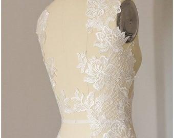 LARGE Flower appliqué,  mirrored SEQUIN wedding dress appliqué, large Lace Flower, Illusion Back Lace, flower lace - (A17-038)
