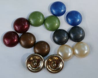 Vintage 1950s Coro Designer Signed Interchangeable 6 Fall/Winter Colors Clip On Earrings