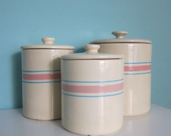 McCoy Kitchen Canister Set, McCoy Stonecraft,  Pink & Blue Stripe - Pre-1980