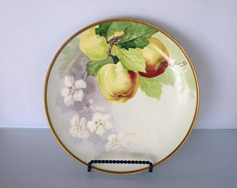 """Memorial Day Sale Coronet Limoges France 8-1/2"""" Dessert Plate Hand Painted Apples and Signed A. Bronssillon"""