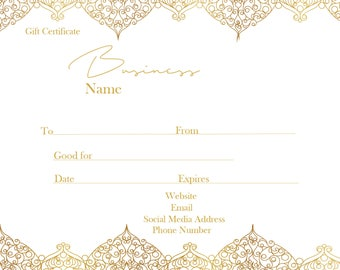 Gold Gift Certificate template