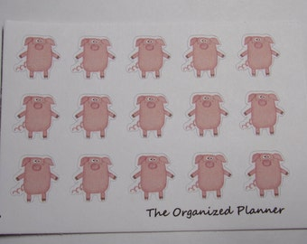 15 Pig Stickers / Cute Stickers / Planner Stickers