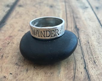 Wander and Pine Tree Ring, Hand Stamped, Sterling silver Pine Tree and Wander Ring