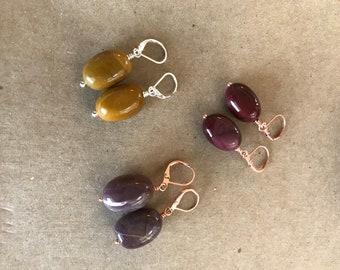 Mookaite Earrings (copper or sterling silver) - Free U.S. Shipping