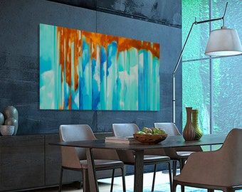 Abstract painting Turquoise Blue Green Orange moderne original painting. Dimensions: 68 x 38 inches (172,5 x 96,5 cm)