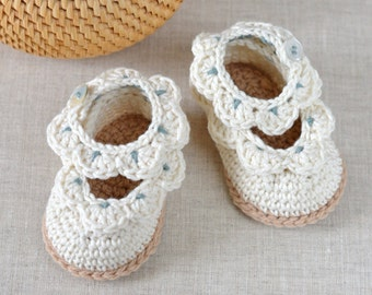 CROCHET PATTERN Baby Sandals with Scallops Easy Crochet Pattern 3 sizes Photo Tutorial Written in English Digital File Instant Download