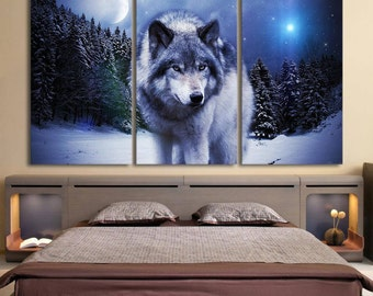 3 pieces canva - wolf moon