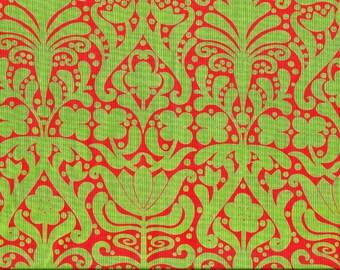 Tissu coton  patchwork vert et rouge lumineux