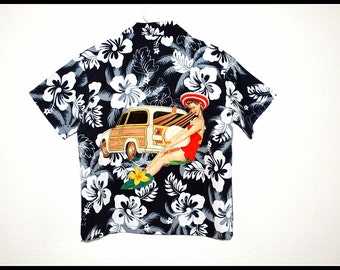 Boys Rockabilly Shirt Navy Blue With Pinup Girl & Woody Car size 8