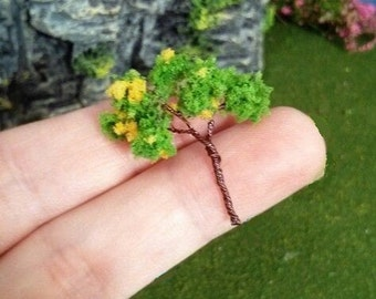 1 miniature tree under the dome project terrarium diorama  trees yellow and  green