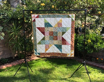 Baby Quilt, Elderly Lap Quilt, 100% Cotton, 42 x 42 square, Star Quilt, Hand Made and Quilted, Birdhouse Print, Warm Tones