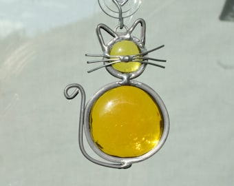 Stained Glass Yellow Cat Ornament, Suncatcher