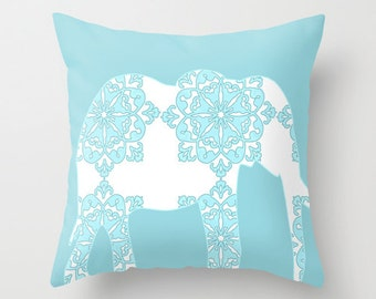 "Damask Elephant  Throw Pillow  18"" x 18"" -  pillows,  nursery pillows, elephant, nursery elephant, novelty throw pillows"