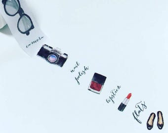 Lipstick washi tape, camera washi tape, nail polish washi, fashion washi tape