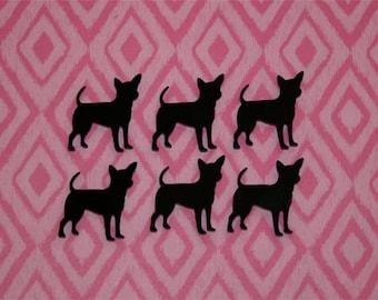 6x laser cut acrylic chihuahua cabochons