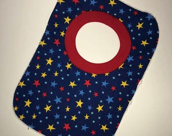 Pullover Pull Over Baby Toddler Bib Made From Michael Miller Bot Boy Atomic Stars Fabric