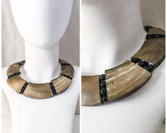 Vintage Necklace Bone Collar Necklace // Tribal Bovine Bone Bib Collar // Tribal Necklace, Ethnic Necklace, Vintage Ethnic Collar Necklace