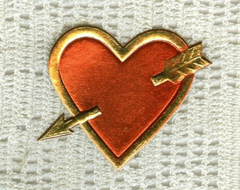 4 Vintage Gold and Metallic Red Cupid's Heart Dresdens - Paper Lace