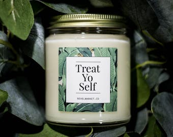 8 oz: Treat Yo Self / Soy Candles Handmade / tom haverford donna meagle parks and rec parks and recreation pawnee self care care package