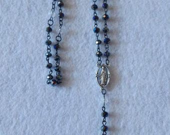 Black AB and clear rondelle beaded rosary
