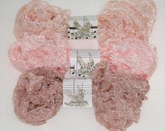 Seam Binding -  Crinkled Ribbon - 18 YARDS -  BABY'S BREATH -  Rosy Beige Ribbon -  Pinkish -  Flesh Ribbon - Rayon Ribbon