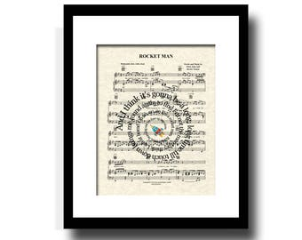 Rocket Man Song Lyric Sheet Music Art Print, Boy's Room, Art for Kids, Custom New Baby Gift, Nursery Print, Music Wall Art, Personalized Art