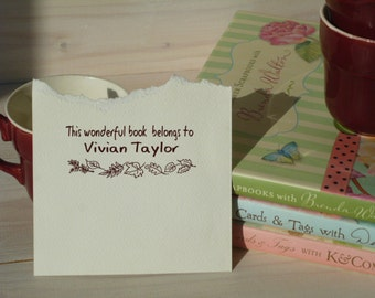 Fall Leaves Custom Bookplate Olive Wood Stamp