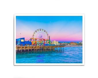 Neon Santa Monica Pier Sunset Print, Santa Monica, Santa Monica Pier, Los Angeles, Sunset Print, Photography Print, California Print, Modern