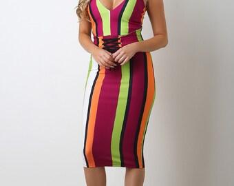 Striped Corset Waist Midi Dress