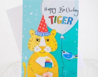 Boy birthday cards - Tiger birthday card -  illustrated card - kids birthday cards - handmade card - Blank card - Yellow greeting card