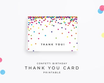 """Confetti Thank You Card, Instant Download Printable. Cute birthday thank you note cards, Folded 3.5""""x5"""" (A1) card PDF for DIY printing!"""