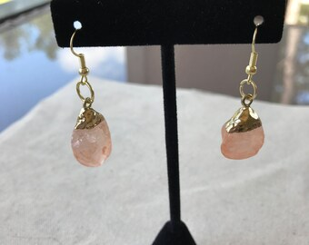 Peach and Gold Nugget Earrings