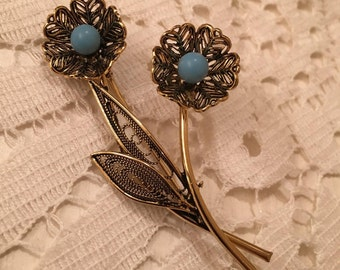 Gold Tone Flower Filigree with Blue Beads Brooch / Pin