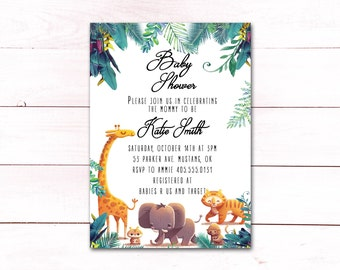 Jungle Baby Shower Invitation, Boy Baby Shower Invite, Safari Baby Shower Invite, Baby Shower Invitation Boy