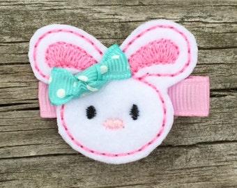 Bunny Hair Clip, Easter Bunny Hair Clip, Pink and Aqua Bunny Hair Clip, Felt Hair Clip, Embroidered Felt Hair Clip, Easter Hair Clip
