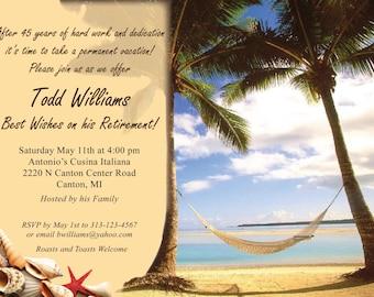"vacation theme Retirement Party Invitation ""Printable"""